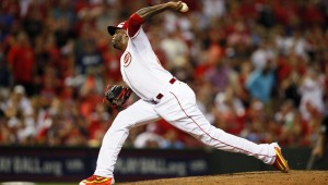 Jul 14, 2015; Cincinnati, OH, USA; National League pitcher Aroldis Chapman (54) of the Cincinnati Reds throws against the American League during the ninth inning of the 2015 MLB All Star Game at Great American Ball Park. Mandatory Credit: Rick Osentoski-USA TODAY Sports ORG XMIT: USATSI-216028 ORIG FILE ID:  20150714_ajw_aa1_283.jpg